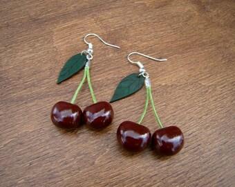 Earrings Black Cherry small size Gift earrings Cherry earrings Fruit earrings Berry earrings Dangle earrings Gift for her gift