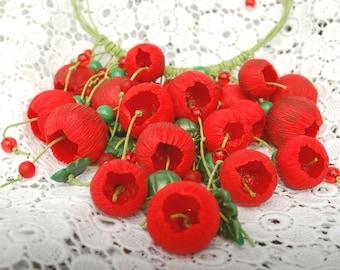 Jewelry set Poppy flower Necklace Poppy Earrings Poppy Poppy jewelry Flower necklace Gift for her Flower earrings Red earrings