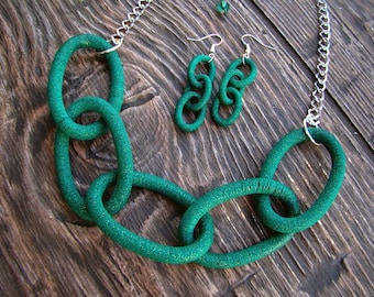 Set Chain Emerald color Polymer clay necklace and earrings Emerald color necklace Emerald color earrings