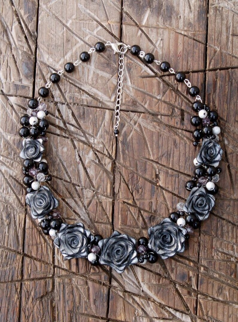 Jewelry Set Black Rose Necklace Black Rose Black Rose earrings Black earrings Black necklace Gift for her Gothic Jewelry gift sets
