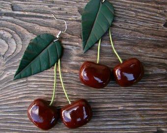 Earrings Black Cherry Red earrings jewelry Cherry earrings Handmade, vintage Cherry red earrings dangle Cherries Fruit earrings