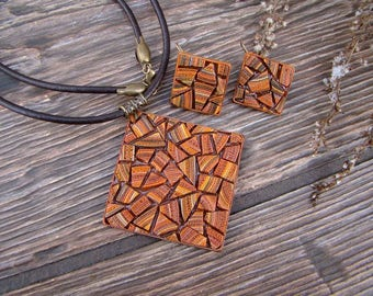 Jewelry Set square mosaic ginger earrings and pendant made of polymer clay