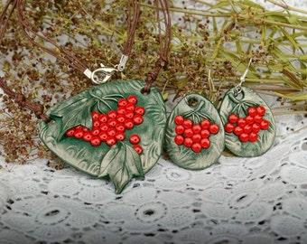 Jewelry set Viburnum berries Necklace Viburnum Earrings Viburnum Ukrainian jewelry necklace Floral jewelry Red berries necklace