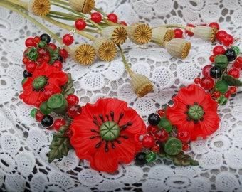 Necklace Poppy Poppy jewelry Poppies necklace Flower necklace Red necklace Red poppy jewelry Gift for her Polymer clay jewelry