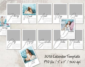 2018 calendar template 5x7 personalized calendar pocket calendar printable layered digital template desk calendar portrait calendar