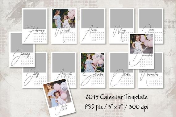 2019 Calendar Template 5x7 Personalized Calendar Pocket Etsy