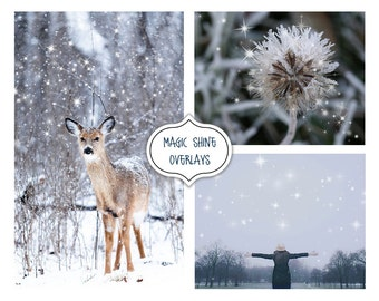 Magic shine Overlay, Shine Effect Photo Overlays,Fantasy Christmas, Star, Blowing Glitter Photoshop Overlays, Snowflake, Snow, Sparkling