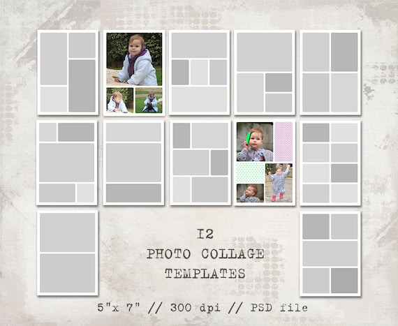 12 storyboard templates 5x7 photo collage templates layered etsy