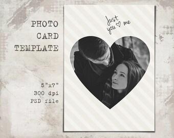 Photo card template, Holiday Cheer Christmas Card, Love, 5x7, Christmas Photo Card, Christmas Templates,printable, PSD Photographer Template