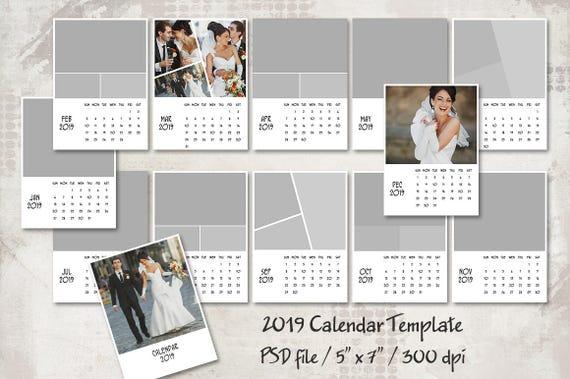 2019 Calendar Template 5x7 Personalized Calendar Pocket