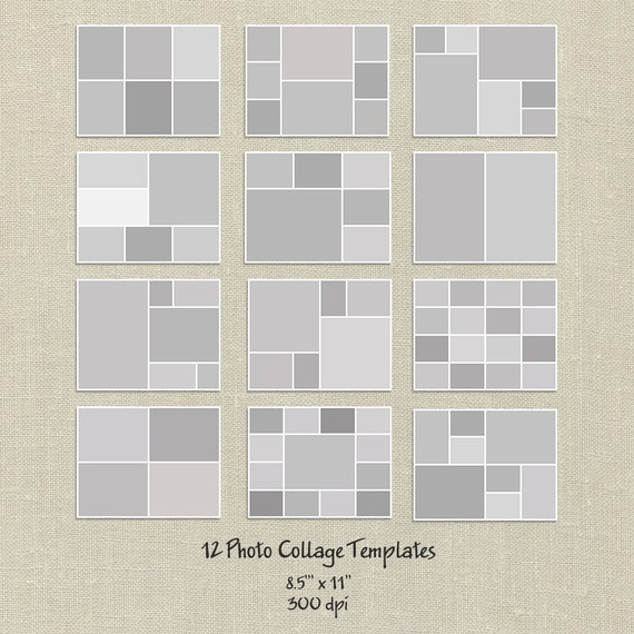 12 Storyboard Templates, 8.5x11, Photo Collage Templates, Layered ...