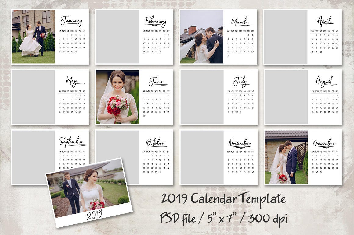 2019 Calendar Template 5x7 Personalized Calendar Pocket Etsy