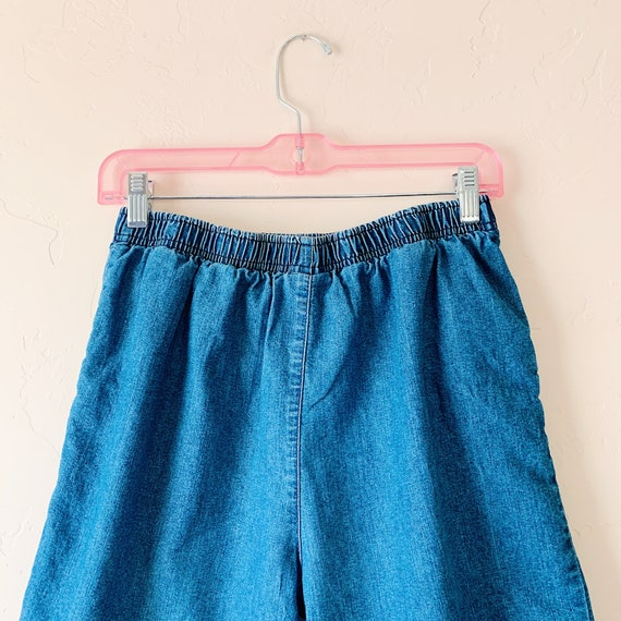 vintage denim elastic waist shorts, small
