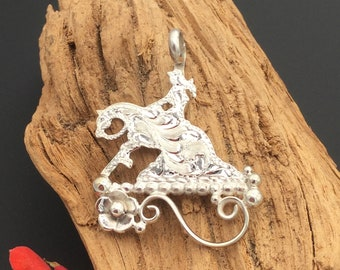 Reining Horse silhouette pendant/ sterling silver/ Artisan Handmade and Hand engraved, P1