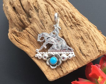 Reining Horse silhouette pendant with a turquoise Wildflower, sterling  silver/ Artisan Handmade and Hand engraved, P8