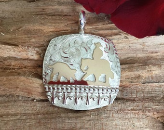 Cutting Horse pendent / Sterling Silver/ 1/20th 12kt Gold Overlay/ Sterling silver/ hand engraved