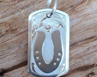 Slide plate Dog Tag/ Sterling Silver/ Artisan Handmade and Hand engraved