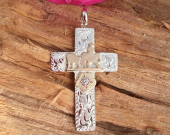 Cutting horse cross with floral/ Artisan Handmade/ Sterling Silver with gold overlay floral and CZ stone