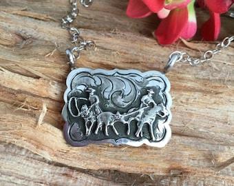 "Team roper Necklace/ Sterling Silver/ Artisan Handmade/Antique finish/ length- 17"""