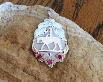 Pleasure Horse triple ruby Pendent/ Artisan Handmade/ Sterling Silver and   12kt goldfill / Artisan handmade and hand engraved