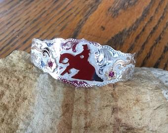 Reiner Cuff Bracelet/ florals with red stones