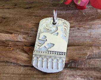 "Horse pendent/ Reining Horse/sterling silver/ Artisan Handmade / 1 1/2"" x 7/8"""