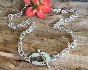 Slide Plate Toggle Necklace/ heavy Chain/Sterling Silver/ Artisan Handmade/ length- 17.5""