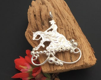 Reining Horse pendant, sterling silver, Big Pendant,Artisan Handmade and Hand engraved, P6