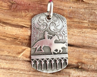 Working Cowhorse Dog Tag Pendent/ Sterling silver/ Artisan Handmade and Engraved