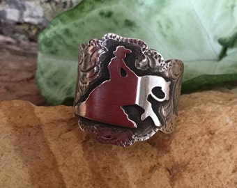 Reiner Ring/ Sterling Silver/ hand made and hand engraved/ size 7.5