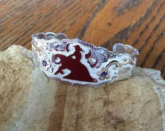 Reiner Cuff Bracelet/ florals with blue stones