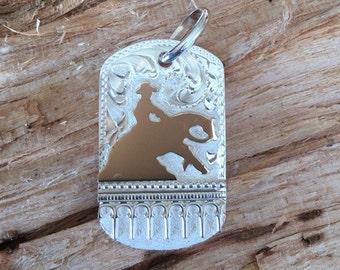 "Horse pendent/ Reining Horse/sterling silver/ Artisan Handmade/ 1 1/2"" x 1"""