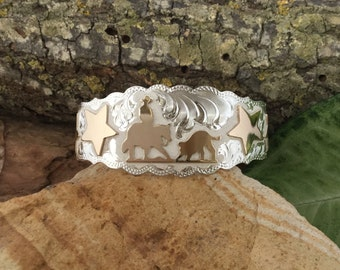 Cutting horse Cuff Bracelet/ four stars / Sterling Silver/ Artisan handmade and engraved