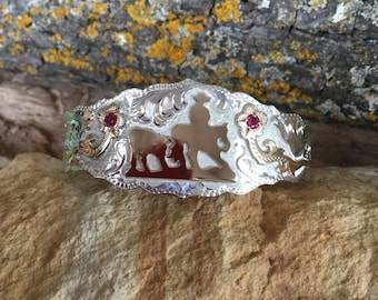 Cutting horse Cuff Bracelet/ florals with red stones/ Sterling Silver/ Artisan handmade and engraved