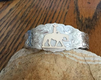 Pleasure horse Cuff Bracelet/ Sterling Silver/ Artisan handmade and engraved