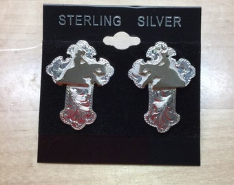 Sterling Silver Cross earrings with a Reining Horse/ Artisan Handmade/ Sterling Silver posts
