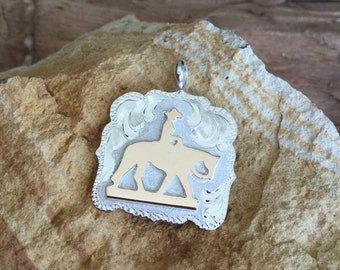 Pleasure Horse Pendent/ Artisan Handmade/ Sterling Silver and 12kt goldfill overlay