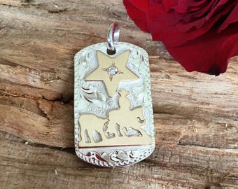 Pendent- Dog Tag/ cutting horse with a star/ sterling silver/ Artisan Handmade/ Equestrian Jewelry/ Horse Jewelry