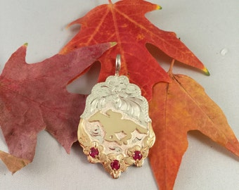 Race Horse/ Artisan Handmade/ Sterling silver and 12kt  goldfill