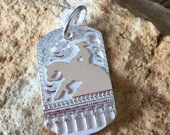 Horse pendent/ Reining Horse/sterling silver/ Artisan Handmade/ 40 mm x 25mm