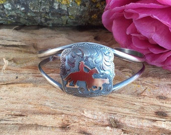 Working CowHorse Cuff Bracelet / Artisan Handmade/ Sterling Silver/ 1 /20th 12 kt gold overlay
