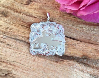Working Cow Horse Pendent/ Artisan Handmade/ Sterling Silver and 12kt goldfill