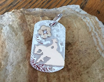 """Pendent/ Dog Tag/ Reining Horse/Artisan Handmade/ sterling silver  11/2""""x 1"""""""