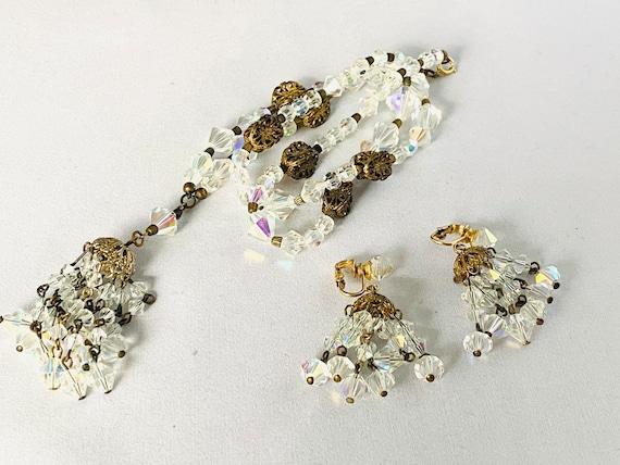 Beautiful Vintage Amber Coated Crystal Chain Strung 2 Strand Bracelet /& Earring Demi Set