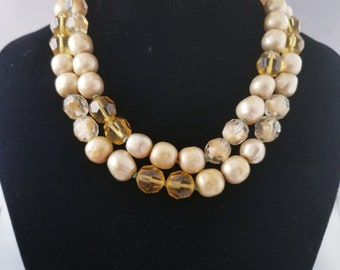 De Mario Signed Necklace Champagne and Ivory Beads