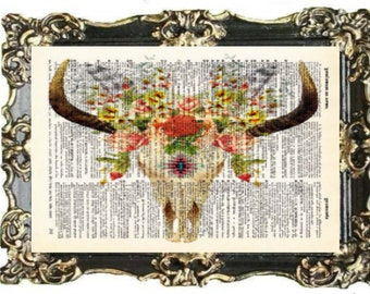 8d5d401e4 Cow Skull Print Boho Wall Decor Tribal Wall Art Floral Wall Decor Flowers  Poster Prints Gift Poster Cow Horns Boho Decor
