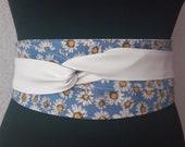 Women 39 s Obi belt wide 114, sash reversible Japanese belts for women, white faux leather woman corset belt