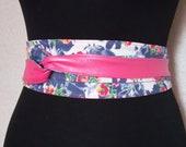Wide belt for women 045, pink faux leather corset belt, denim reversible women 39 s Obi Japanese belt