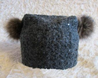 Berretto donna con berretto di pelliccia pom pon (009) d2d5f987ddfd
