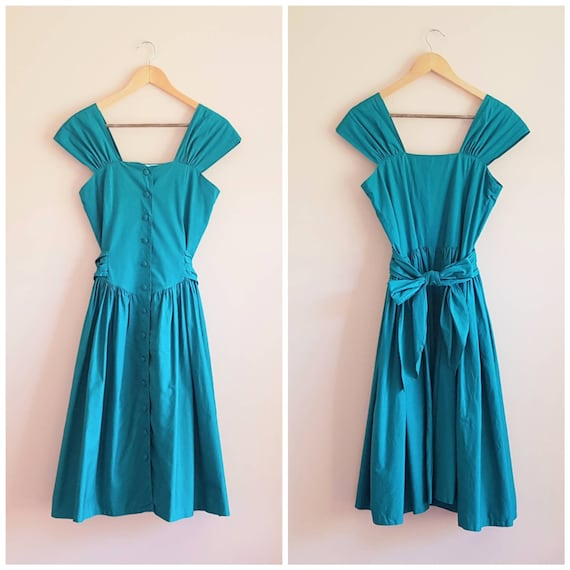 Vintage 80s does 50s Teal Green Fancy Dress